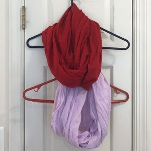 Lot of 2 Infinity Scarves - Red & Lavender